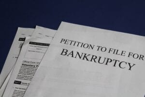 Bankruptcy documents for a client filing bankruptcy for a small business